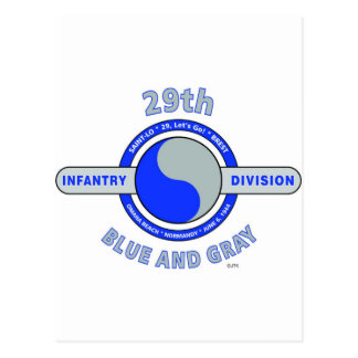 """29TH INFANTRY DIVISION """"BLUE AND GRAY"""" POSTCARD"""