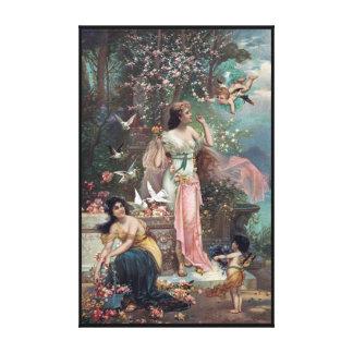 29x45 Vintage Cupid Garden Ladies Print Canvas Print