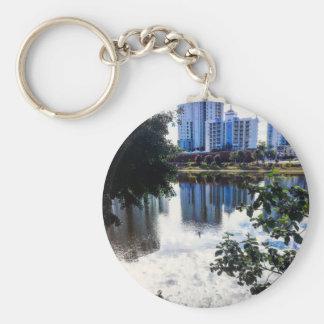 """2.25"""" Basic Button Keychain Lake"""