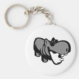 "2.25"" Basic Button Keychain - Summertime Hippo"