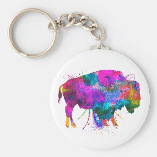 """2.25"""" Watercolor Buffalo Button Keychain"""