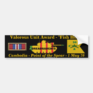 "2/34th Armor Valorous Unit - Cambodia ""Fish Hook"" Bumper Sticker"