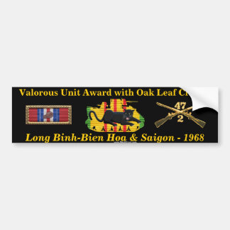 2/47th Valorous Unit Award with Oak Leaf Cluster Bumper Sticker