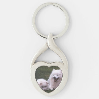 2 American_Eskimo_Dogs Key Ring