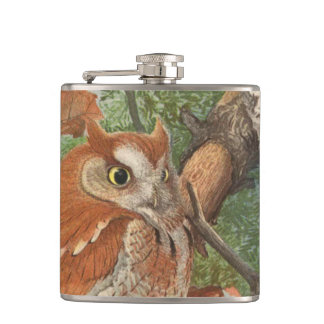 2 angry vintage owls in a tree flasks