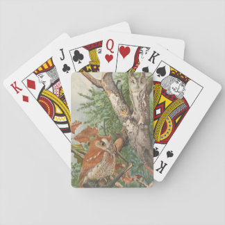2 angry vintage owls in a tree playing cards