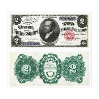 $2 Banknote Silver Certificate Series 1891 Canvas Prints