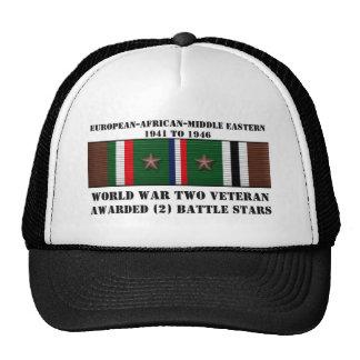 2 BATTLE STARS / WORLD WAR II VETERAN HAT
