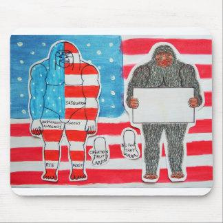 2 big foot A, flag & text on U.S.A. flag, Mouse Mats