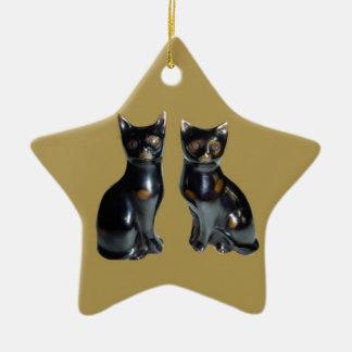 2 Black CATS -  Pet Statue Christmas Ornament