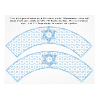 2 Blue Bar Mitzvah Custom Cupcake Wrappers