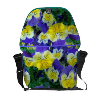 2 Blue Yellow Pansies Courier Bag