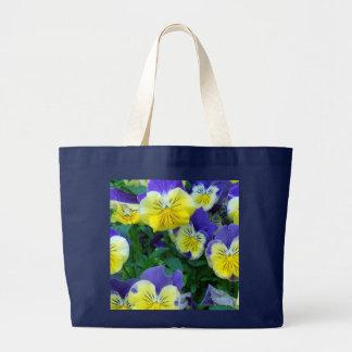 2 Blue Yellow Pansies Large Tote Bag