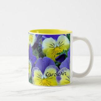 2 Blue Yellow Pansies Coffee Mugs