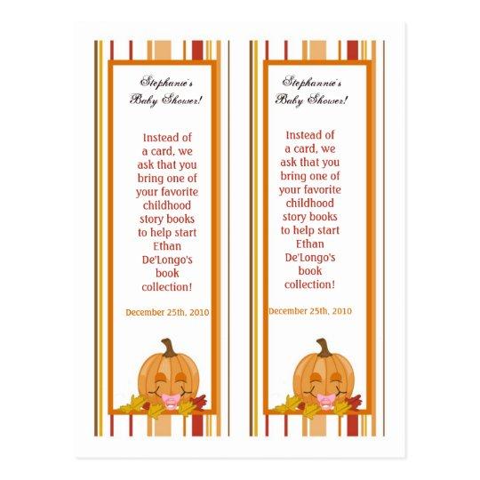 2 Book Marks Autumn Fall Pumpkin Baby Postcard