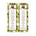 2 Book Marks Woodland Friends Owl Postcard