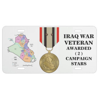 2 CAMPAIGN STARS IRAQ WAR VETERAN LICENSE PLATE