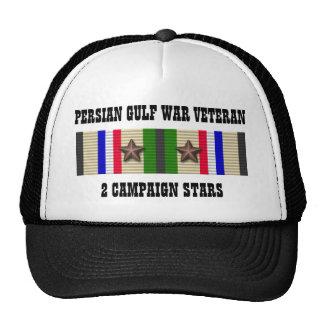 2 CAMPAIGN STARS / PERSIAN GULF WAR VETERAN HAT
