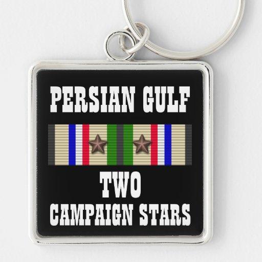 2 CAMPAIGN STARS / PERSIAN GULF WAR VETERAN KEYCHAINS