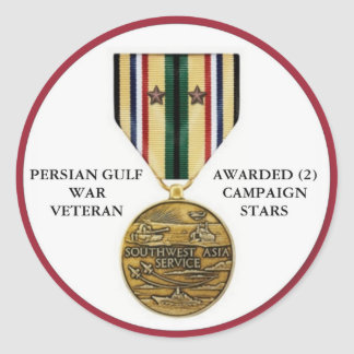 2 CAMPAIGN STARS PERSIAN GULF WAR VETERAN ROUND STICKER