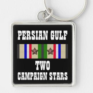 2 CAMPAIGN STARS / PERSIAN GULF WAR VETERAN Silver-Colored SQUARE KEY RING
