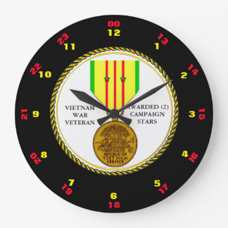 2 CAMPAIGN STARS VIETNAM WAR VETERAN WALL CLOCKS