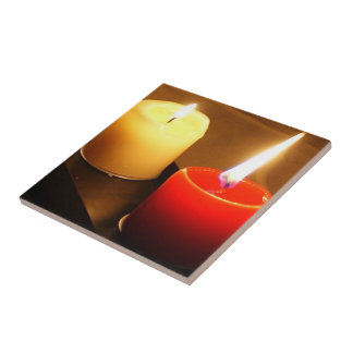 2 Candles Feature Ceramic Tile Red and Yellow