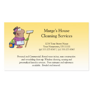 #2 Cartoon House Cleaning Lady Customer Loyalty Pack Of Standard Business Cards
