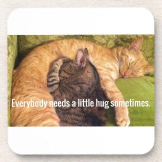 2 Cats Cuddling and Sleeping Beverage Coaster