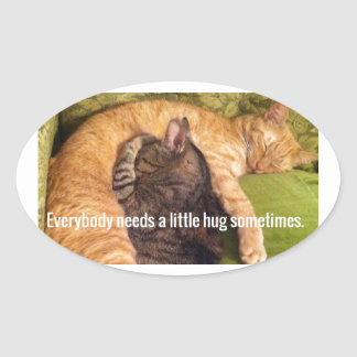 2 Cats Cuddling and Sleeping Oval Sticker