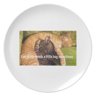 2 Cats Cuddling and Sleeping Plate