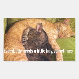2 Cats Cuddling and Sleeping Rectangular Sticker