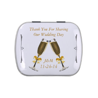 2 Champagne Glasses Gold Bow Wedding Thank You Jelly Belly Tin