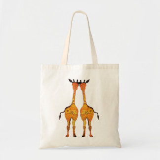 2 Cheeky Giraffes  in Yellow and orange Tote Bag