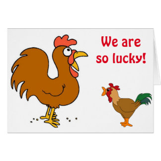 2 CHICKENS CLUCKING THEIR WISHES=MUTUAL BIRTHDAY CARD