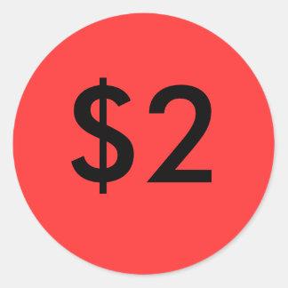 $2 CLASSIC ROUND STICKER