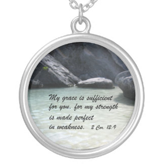 2 Cor. 12:9 Silver Plated Necklace