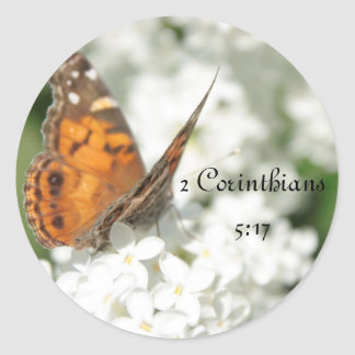 2 Corinthians 5:17 Butterfly Lilac Classic Round Sticker