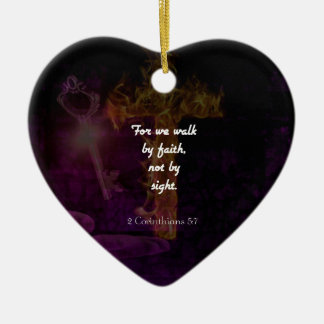2 Corinthians 5:7 Bible Verse Quote About Faith Ceramic Ornament