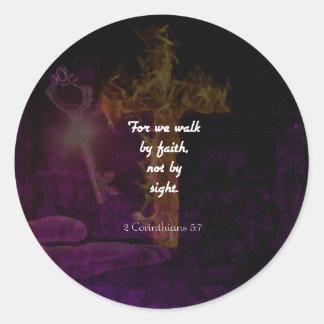 2 Corinthians 5:7 Bible Verse Quote About Faith Classic Round Sticker