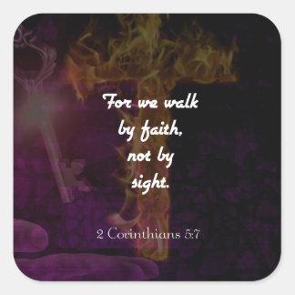 2 Corinthians 5:7 Bible Verse Quote About Faith Square Sticker
