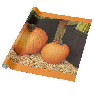 2 country pumpkin wrapping paper