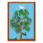 2 crimson rosellas, and a cockatoo up a gumtree greeting card