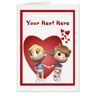 2. Cute Baby Boy & Girl Caricatures - Customize It Cards