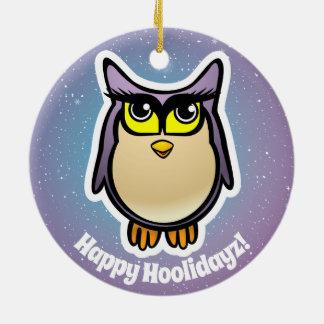 2 Cute Barn Owls Cartoons Ceramic Ornament