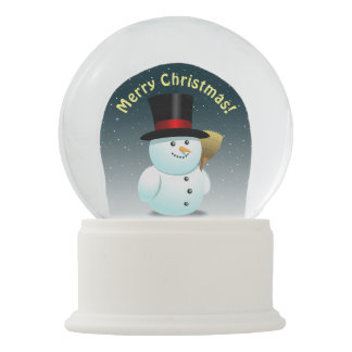 2 Cute Snowmen With Carrot Noses Snow Globe