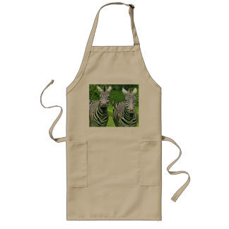 2 Cute Zebras Long Apron