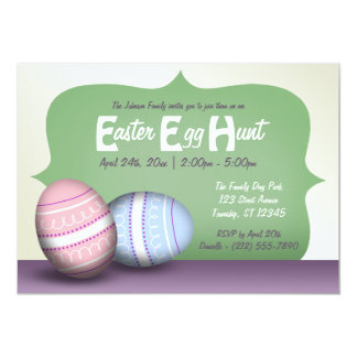 2 Decorated Eggs - Easter Egg Hunt Invitations