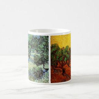 2 different Van Gogh Olive Grove Trees Vintage Art Coffee Mug