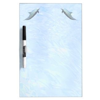 2 Dolphins on Watery Background Dry Erase White Board